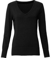 maglione in filato fine con scollo a v (nero) - bpc bonprix collection