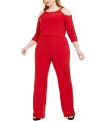 ny collection plus size embellished cold-shoulder jumpsuit