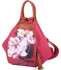 0b6c060f1eb068 borse da viaggio brenice women canvas backpack stampa lotus national bags