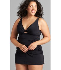 lane bryant women's slitted swim skirt 28 black