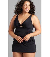 lane bryant women's eco-friendly slitted swim skirt 12 black
