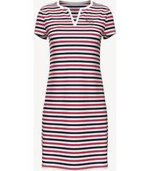 tommy hilfiger women's essential stripe short-sleeve dress tango red multi - xl