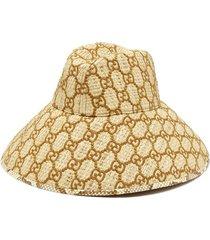 snakeskin-trimmed gg-embroidered raffia hat