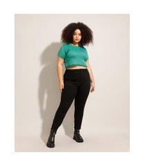 calça skinny de sarja plus size cintura super alta preta
