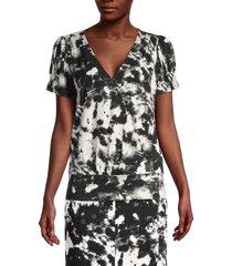karl lagerfeld paris women's tie-dye blouson top - black - size xl