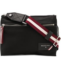bally nylon double-pouch shoulder bag - black
