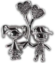 colar papillô joias casal balão, ródio branco