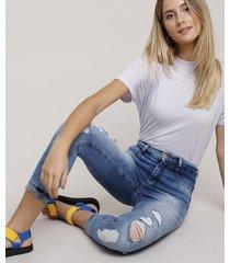 calça jeans feminina sawary skinny 360 cropped cintura alta destroyed com barra dobrada azul médio