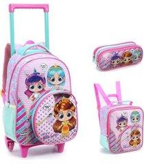 kit mochila com rodinhas hey little girls com lancheira e estojo feminino