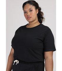 t-shirt feminina plus size mindset manga curta decote redondo preta