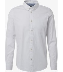 tom tailor overhemd strepen contrast linnen button down slim fit wit