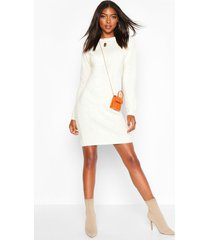 tall crew neck long sleeve dress, ivory