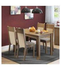 conjunto sala de jantar havana madesa mesa tampo de madeira com 4 cadeiras rustic/crema/pérola