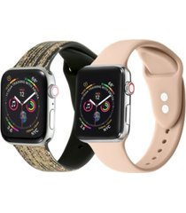 men's and women's falling star dust light pink band 2 piece silicone band for apple watch 42mm