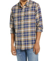 men's filson scout plaid sport shirt, size medium - blue