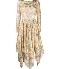 etro floral-print scoop-back midi dress - yellow