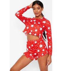 korte sterrenprint pyjama set met franjes, red