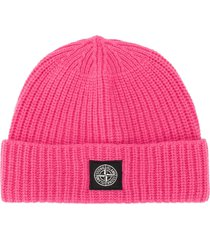 stone island knitted beanie hat - pink