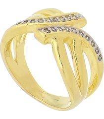 anel com detalhe central em zircônia 3rs semijoias dourado