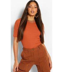 tall geribbeld t-shirt met ronde hals, gebrand oranje