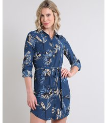 vestido chemise feminino estampado de folhagens com faixa manga longa azul marinho