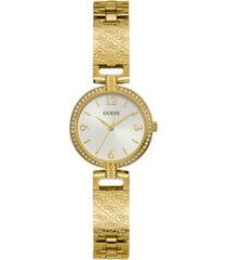 guess women's gold-tone stainless steel bangle bracelet watch 27mm