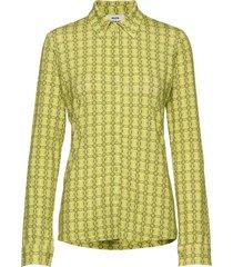 printed stretch soleima overhemd met lange mouwen geel mads nørgaard