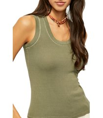 women's free people scoop neck tank, size medium - green