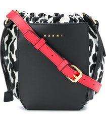 marni gusset leopard-print shoulder bag - black