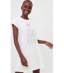 camisola pzama curta happy off-white