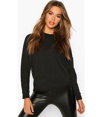 crotchet panelled sweatshirt, black