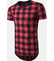 t-shirt a manica corta da uomo a quadretti modello tondo collo