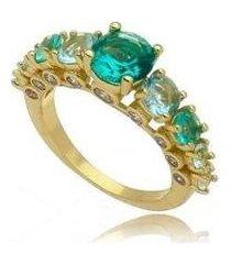 anel kaka corrêa cristais bolinha turmalina paraíba no banho de ouro 18k - feminino