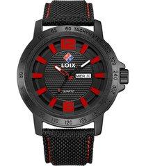 reloj loix ref. l2013-3 negro/rojo