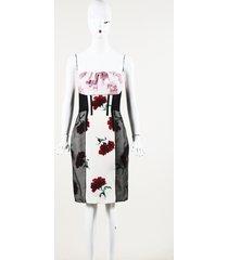 oscar de la renta floral print silk strapless dress
