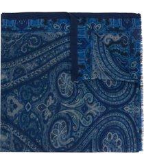 etro paisley print scarf - blue