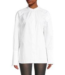 salvatore ferragamo women's mandarin collar cotton shirt - white - size 44 (8)