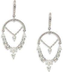 adriana orsini women's gala rhodium-plated & cubic zirconia drop earrings
