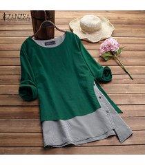 zanzea mujeres cuello redondo suéter superior tee camisa de tela escocesa check plus tamaño túnica de la blusa -verde