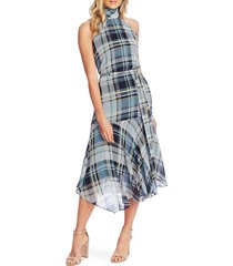 women's vince camuto plaid elements sleeveless mock neck dress, size 10 - blue