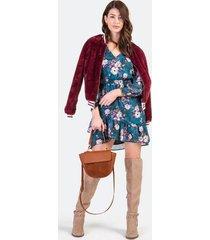 stefani fur varsity jacket - burgundy