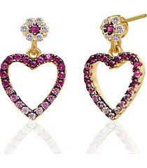 14k gold vermeil & cubic zirconia cutout mini heart earrings