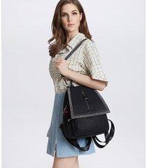 mochila de mujer, mochila de diamantes multifunción mochila femenina-negro