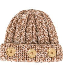 0711 button-detail knit beanie - neutrals