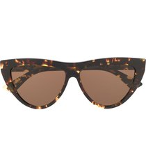 bottega veneta teardrop frame sunglasses - brown