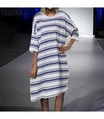zanzea verano de las mujeres de manga corta camisa de la raya del verano del vestido vestido de tirantes mini vestido más del tamaño -azul marino