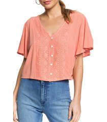 women's roxy hanging moon lace crop top, size x-small - red