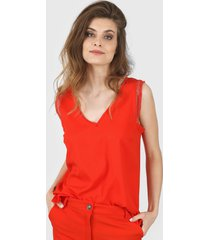 blusa roja vindaloo lino crepe