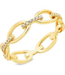 sterling forever women's 14k gold vermeil & crystal open chain-link ring/size 9 - size 9
