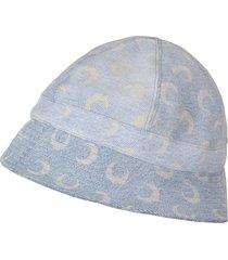 women's marine serre moon print regenerated denim bucket hat -